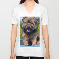 yorkie V-neck T-shirts featuring Yorkie by Sammycrafts