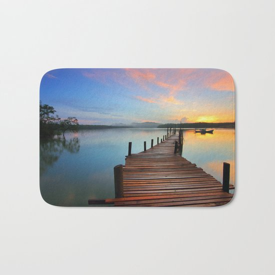 Pier on the Water at Sunset  Bath Mat