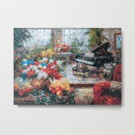 Piano Pianist Piano And Flower Poster Metal Print
