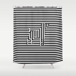 Dog on Stripes Shower Curtain