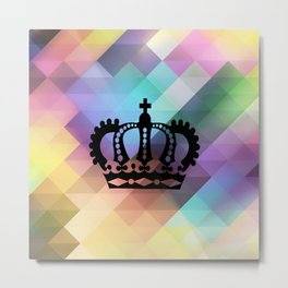Pastel Geometric and Crown Metal Print