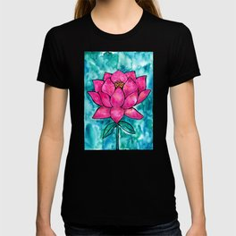 Sacred Lotus – Magenta Blossom with Turquoise Wash T-shirt