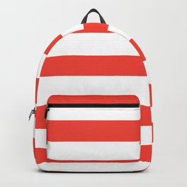 Even Horizontal Stripes, Red and White, L Backpack