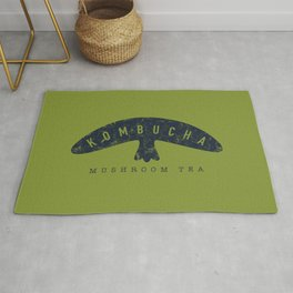 Kombucha Mushroom Tea // Moss Green and Blue Abstract Graphic Design Artwork Rug