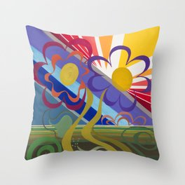 Flower Horizon Throw Pillow