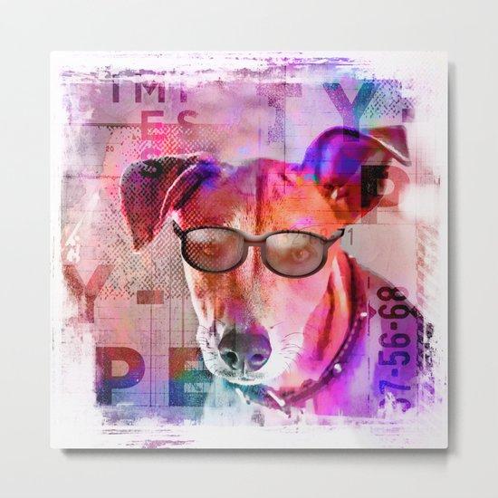 Cool colorful hippster dog artwork Metal Print