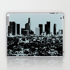 Downtown Los Angeles Skyline - Stamp Pattern on Light Blue Laptop & iPad Skin
