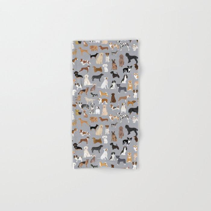 Mixed Dog lots of dogs dog lovers rescue dog art print pattern grey poodle shepherd akita corgi Hand & Bath Towel