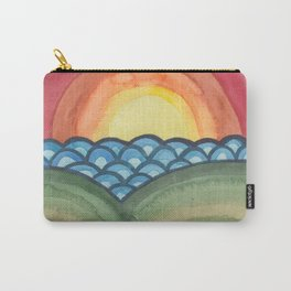 Psychedelic Sunset - Abstract Watercolor Landscape Carry-All Pouch