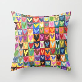 Many hearts and colours Throw Pillow