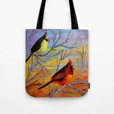 Birds on the birch tree Tote Bag