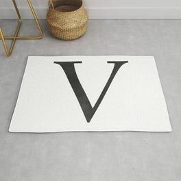 Letter V Initial Monogram Black and White Rug