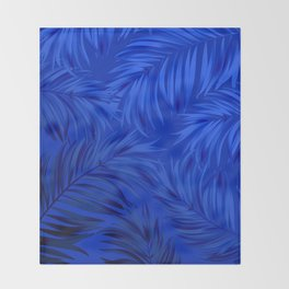 Palm Tree Fronds Brilliant Blue on Blue Hawaii Tropical Décor Throw Blanket
