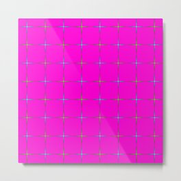 Glowing green and blue stars on dark pink  background. Metal Print