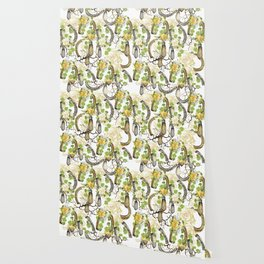 Watercolor horseshoes with roses Wallpaper