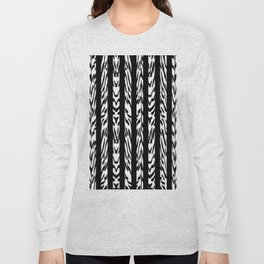 Tribal Black and White Tiger Stripe Pattern Long Sleeve T-shirt