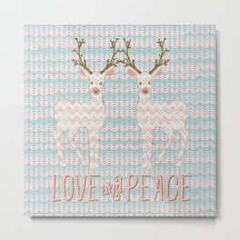 Love and Peace Knitting Deer Winter Christmas Art Metal Print