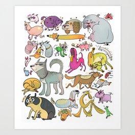 Dog Doodle Art Print