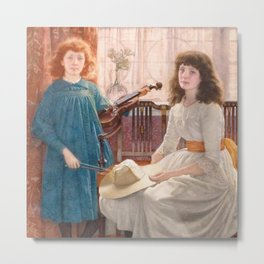 The violinist and her sister Metal Print