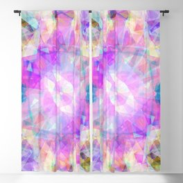 Abstract pink lavender lilac teal  modern kaleidoscope pattern Blackout Curtain