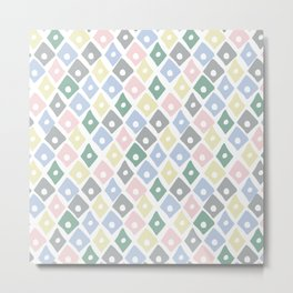 Retro Contemporary Argyle Pattern Metal Print