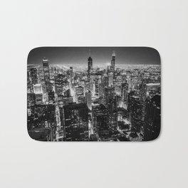 Chicago Skyline at Night Bath Mat