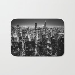Chicago Skyline at Night Bath Mat