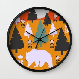 Bear walking between flowers and pine trees Wall Clock