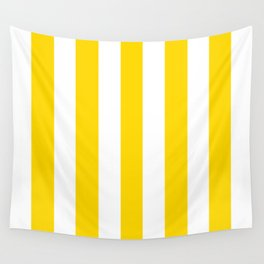 School bus yellow - solid color - white vertical lines pattern Wall Tapestry