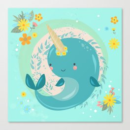 Pretty Princess Narwhal Canvas Print
