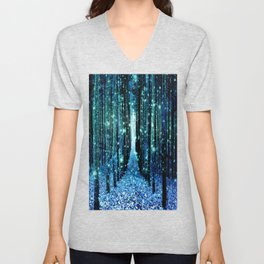 Magical Forest Teal Turquoise Unisex V-Neck
