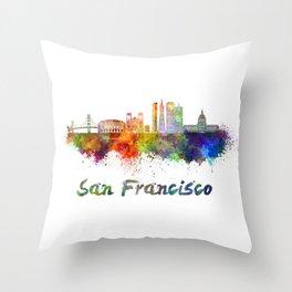 San Francisco skyline in watercolor Throw Pillow