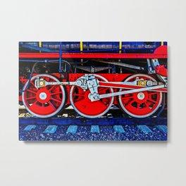 The Perfect Steam Machine - An Ancient Locomotive Wheels Metal Print