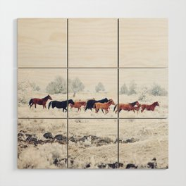 Winter Horse Herd Wood Wall Art