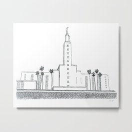 Los Angeles LDS Temple Ink Drawing Metal Print
