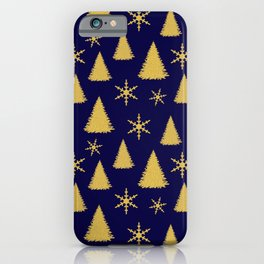 Blue and Gold Christmas Tree Pattern iPhone Case