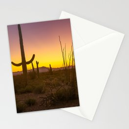 Spirit of the Southwest - Saguaro Cactus and Desert Plant Life in Warm Glow of Arizona Sunset Stationery Cards
