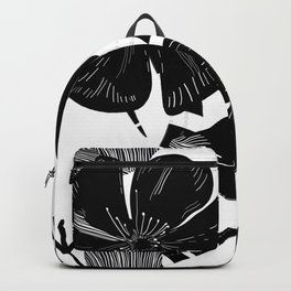 Monochrome Lily flower and snake luxury design black white pattern Backpack