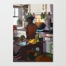 Modern Male Witch Kitchen Canvas Print