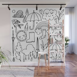 Hand drawn black white animal doodle winter pattern Wall Mural