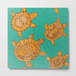 Tropical Sea Turtles Metal Print
