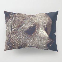 kodiak brown bear vector art dark Pillow Sham