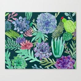 Watercolor Succulent Collage Canvas Print
