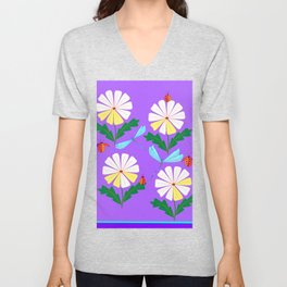 White Spring Daisies, Dragonflies, Lady Bugs lavender Unisex V-Neck