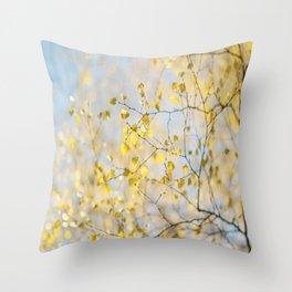 Golden Silver Birch Leaves Throw Pillow