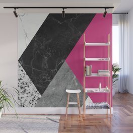 Black and White Marbles and Pantone Pink Yarrow Color Wall Mural