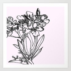 flower in black ink Art Print