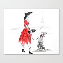 WEIMARANER IN PARIS Canvas Print