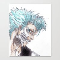 bleach Canvas Prints featuring Grimmjow Bleach  by Naomi Simone