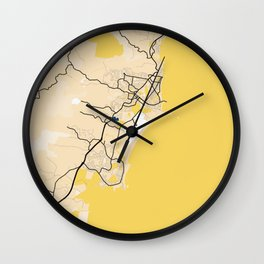 Coffs Harbour Yellow City Map Wall Clock